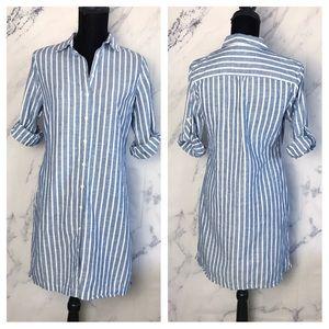 Brooks Brothers 346 petite stripe linen shirt
